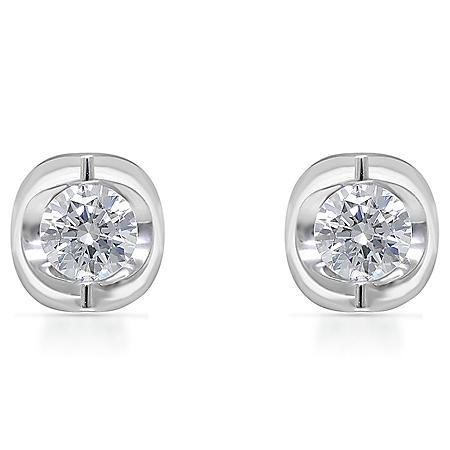 0.45 CT. T.W. Diamond Earrings 14K White Gold