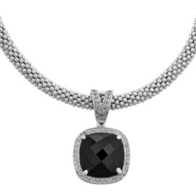 Cushion-Shaped Onyx and White Topaz Necklace in Italian Sterling Silver