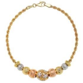 14K Tricolor Gold Bead Bracelet