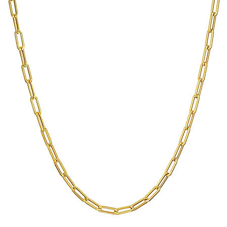 """14K Yellow Gold Small Link Paperclip Chain, 20"""""""
