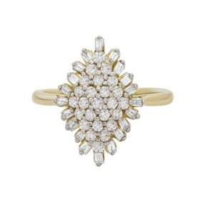 0.50 CT. T.W. Diamond Cluster Ring in 14K Yellow Gold