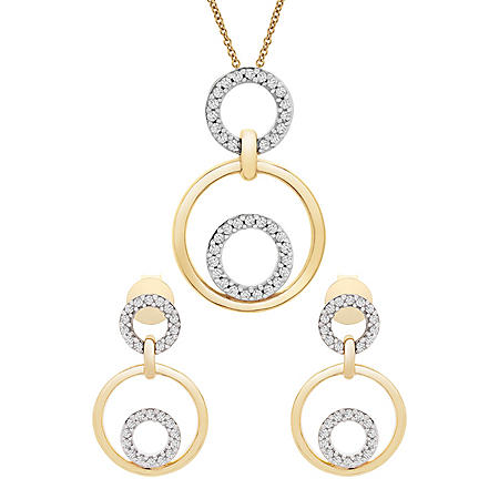 0.25 CT. T.W. Diamond Necklace and Earrings Box Set in 14K Yellow Gold
