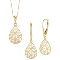 14K Yellow Gold Earring and Pendant Set