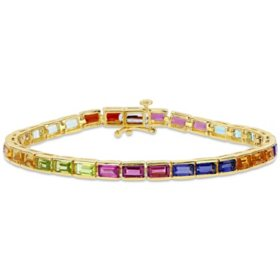 9.09 CT. T.G.W. Multi Gemstone Tennis Bracelet in Yellow Plated Sterling Silver