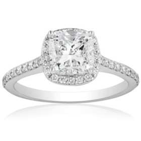 Superior Quality Collection 1.82 CT. T.W. Cushion Shaped Diamond Halo Ring in 18 Karat White Gold (I, VS2)