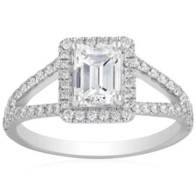 Superior Quality Collection 1.50 CT. T.W. Emerald Shaped Diamond Halo Ring in 18 Karat White Gold (I, VS2)