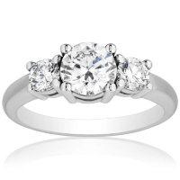 Superior Quality Collection 1.50 CT. T.W. Diamond Three Stone Ring in 18 Karat White Gold (I, VS2)