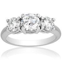 Superior Quality Collection 2.0 CT. T.W. Diamond Three Stone Ring in 18 Karat White Gold (I, VS2)