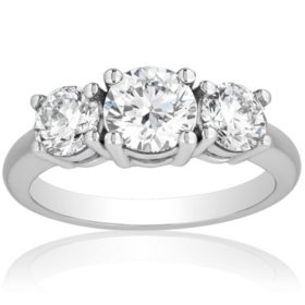 Superior Quality Collection 2.0 CT. T.W. Diamond Three Stone Ring in 18 Karat White Gold (I, VS2)