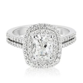 Superior Quality Collection 2.60 CT. T.W. Cushion Shaped Diamond Engagement Ring in 18K White Gold (I, VS2)