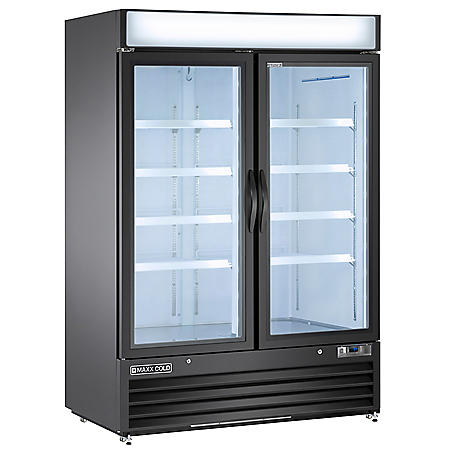 Maxx Cold 48 Cu Ft., 2-Door Glass Merchandiser Refrigerator, White Cabinet