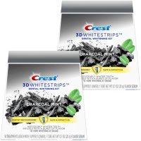 Crest 3D Whitestrips Charcoal Mint, Dental Whitening Kit + 2 Tube of Flavor Serum (56 ct.)