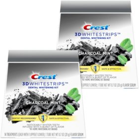 Crest 3D Whitestrips Charcoal Mint, Dental Whitening Kit + 2 Tube of Flavor Serum (56 ct.)