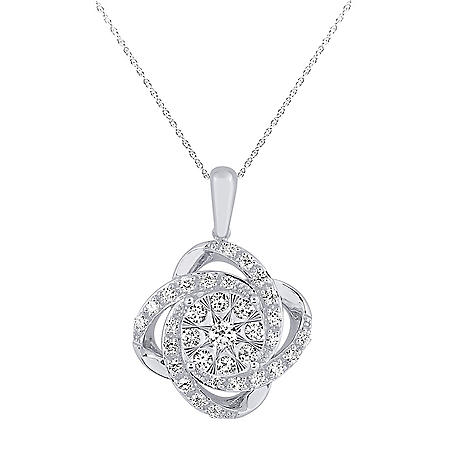 1/3 CT. T.W. Diamond Four-Leaf Clover Pendant in 14K White Gold