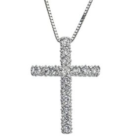 0.23 CT. T.W. Diamond Cross Pendant in 14K Gold