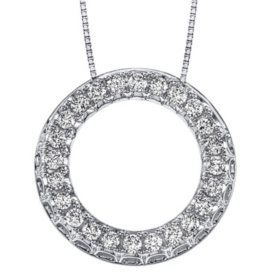 0.46 CT. T.W. Diamond Circle Pendant in 14K Gold