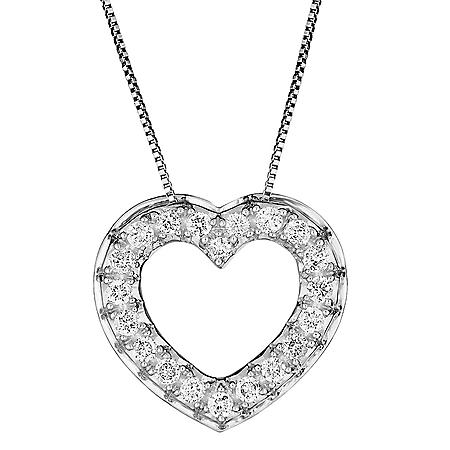 0.46 CT. T.W. Diamond Heart Pendant in 14K Gold