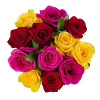 Premium Rainbow Rose Bouquet (choose with or without vase)