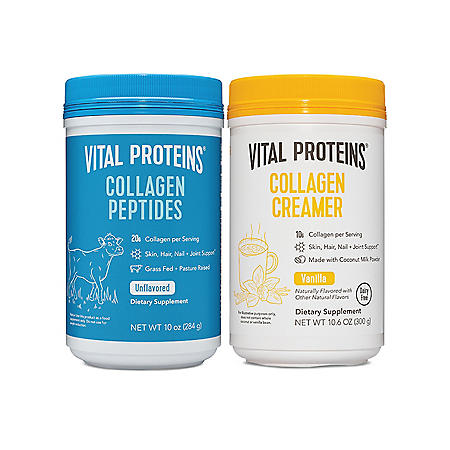 Vital Proteins Collagen Peptides 10oz and Collagen Cream Vanilla 10.3oz bundle (2 pk)