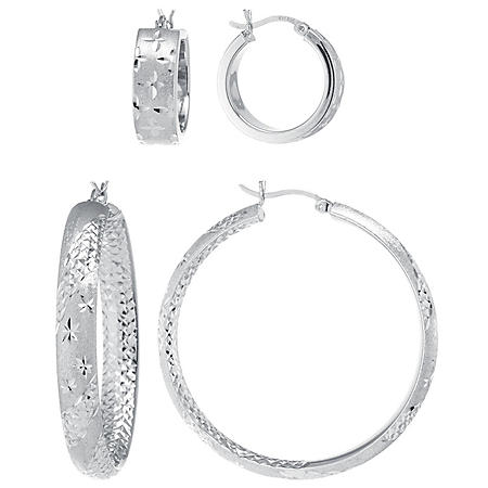 Sterling Silver 20mm and 45mm Star Pattern Hoop Set