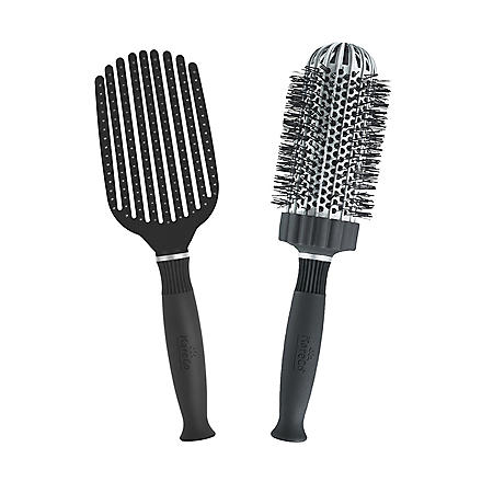 KareCo Tangle Buster® Detangler & Large Round Ceramic Thermal Hair Brush Set