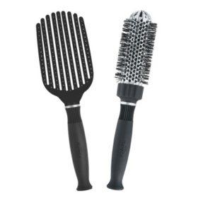 KareCo Tangle Buster® Detangler & Small Round Ceramic Thermal Hair Brush Set