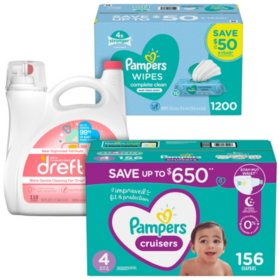 Pampers Cruisers Diaper, Wipe & Dreft Bundle (Choose Your Size)