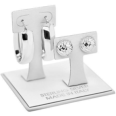 Italian Sterling Silver High Polish and Diamond Cut Earring Set