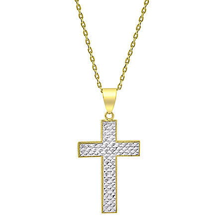 14K Two Tone Diamond Cut Cross Necklace