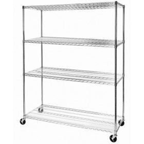 "Seville Classics MEGA RACK 4-Tier NSF Steel Wire Shelving - 60"" x 24"" x 76"""