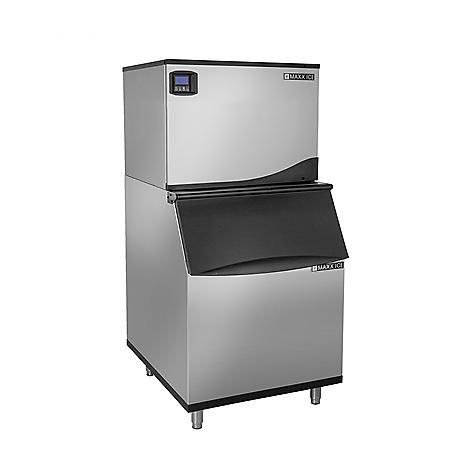 "Maxx Ice 30"" Wide Half Dice Ice Machine (370 lbs.) with 470 lb. Bin"