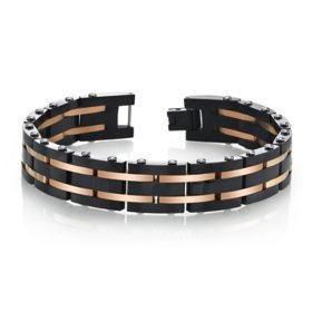 Spartan Men's Black and Rose Gold IP Stainless Steel Braclelet 8.5""