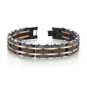 "Spartan Men's Stainless Steel Bracelets with Black Spinel Stones 8.5"""