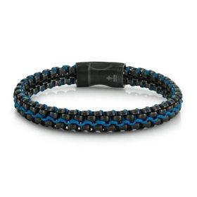 "Spartan Men's Black and Cord Stainless Steel Bracelet, 8.5"" Length"