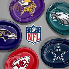 "NFL Paper Platter Plates, 10'' x 12"" (50-55 ct.) (Choose Your Team)"
