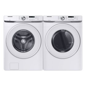 Samsung 4.5 cu. ft. Front Load Washer with Vibration Reduction Technology+ & 7.5 cu. ft. Gas Dryer with Sensor Dry - White