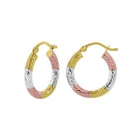 14K Tri Color Diamond Cut Hoop Earrings
