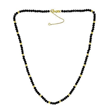 14K Gold Diamond Cut Bead and Treated Black Onyx Necklace
