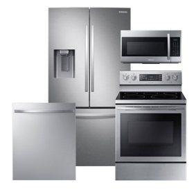 Samsung 4 pc. Electric Kitchen Suite with 3-Door French Door Refrigerator - Stainless Steel