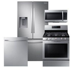 Samsung 4 pc. Gas Kitchen Suite with 3-Door French Door Refrigerator- Stainless Steel