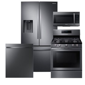 Samsung 4 pc. Gas Kitchen Suite with 3-Door French Door Refrigerator