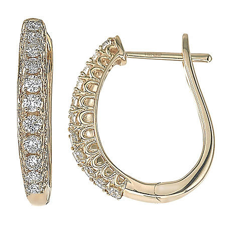 0.48 CT. T.W. Diamond Hoop Earrings in 14K Gold