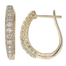0.48 CT. T.W. Diamond Hoop Earrings in 14K Gold