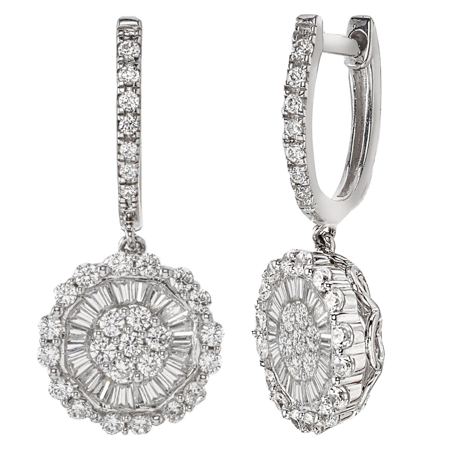 1.23 CT. T.W. Diamond Drop Earrings in 14K White Gold