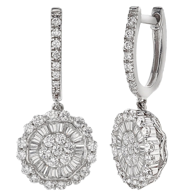 1.23 CT. T.W. Diamond Drop Earrings in 14K White Gold