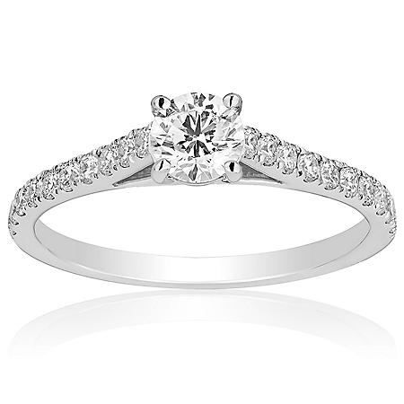Superior Quality Collection 0.75 CT. T.W. Round Center Diamond Engagement Ring in 18 Karat White Gold (I, VS2)