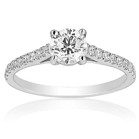 Superior Quality Collection 1.0 CT. T.W. Round Center Diamond Engagement Ring in 18 Karat White Gold (I, VS2)