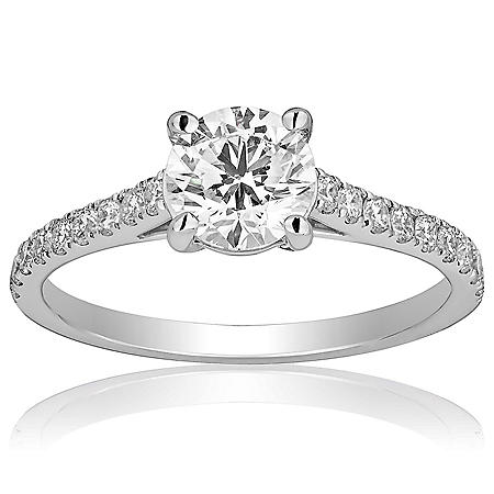 Superior Quality Collection 1.3 CT. T.W. Round Center Diamond Engagement Ring in 18 Karat White Gold (I, VS2)