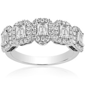 Superior Quality Collection 1.50 CT. T.W. Emerald Shaped Diamond Halo Band in 18 Karat White Gold (I, VS2)