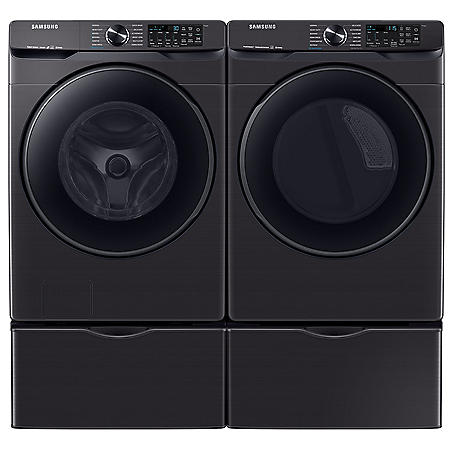 Samsung 5.0 cu. ft. Smart Front Load Washer with Super Speed & 7.5 cu. ft. Smart Electric Dryer with Steam Sanitize+ on Pedestal